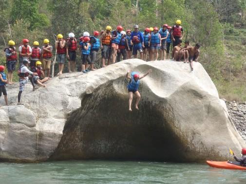 Cliff Jump - Bhote Koshi River Rafting